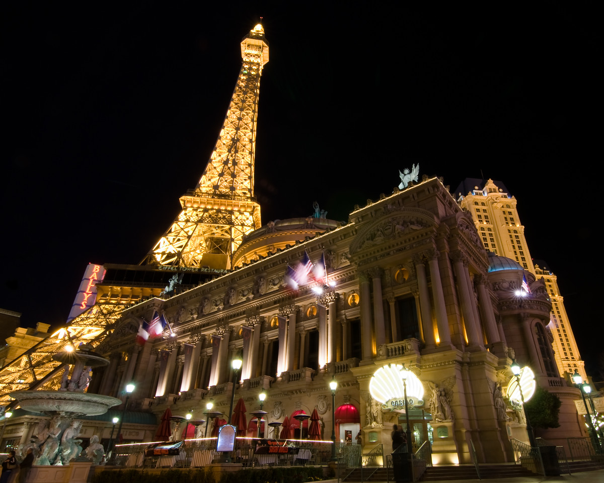 Day #48 - Paris Hotel, Las Vegas<br /> <br /> I took a trip to Las Vegas recently with my coworkers as a team building event.  A few of us were able to sneak away to take in the sites along the Strip.  I was able to grab a few keeper shots along the way.  This is one of them taken from the sidewalk in front of the Paris Hotel & Casino.