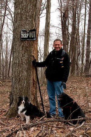 Me and my faithful hiking companions.. They go where I do. Camera on a stump, it took a dozen tries to get this one.