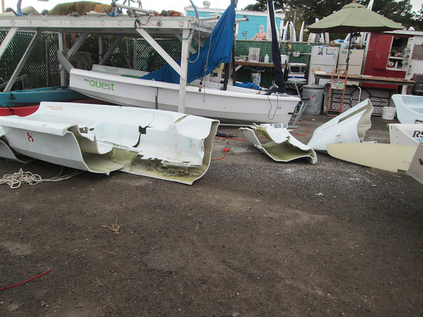 Hulls cut up for transport