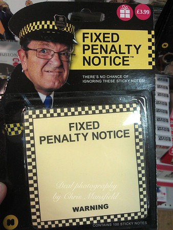 This Manic traffic warden was attached to a novelty gift pack of Post it notes being sold in W H Smith at Christmas 2012