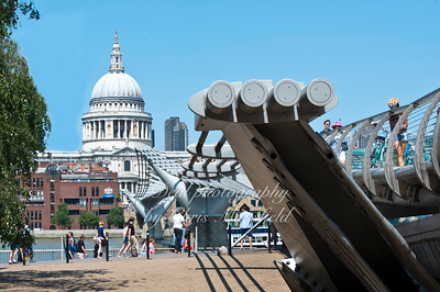 July 2013, . Millenium bridge and St Pauls.