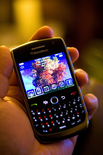 Cly's first Blackberry - the Curve 8900 - nice little thing