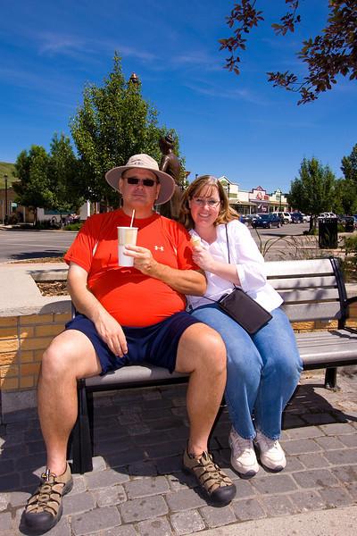 It's Uncle Bob's birthday!  Here he is enjoying a milkshake with Auntie Honey Bunny in Cochrane, Alberta.