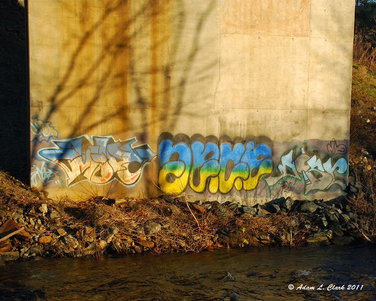 11.30.2011<br /> <br /> Grafitti on the base of a bridge abutment