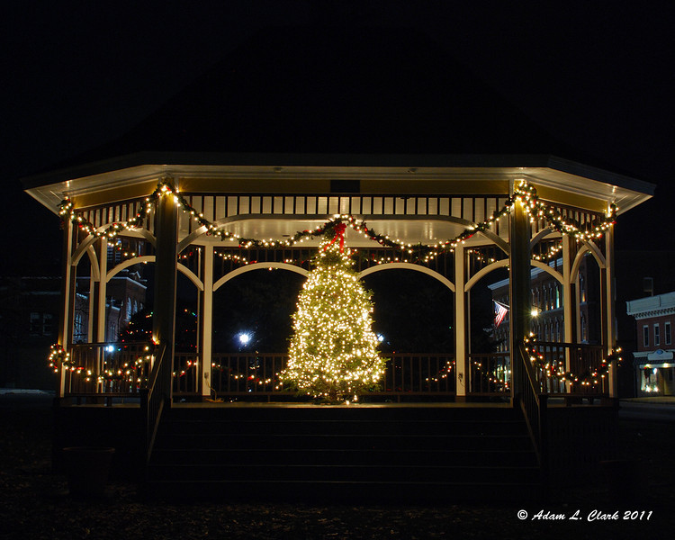 12.04.2011<br /> <br /> The gazebo in Newport, NH lit up for the night