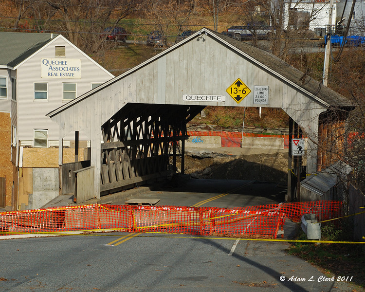 11.22.2011<br /> <br /> The effects from Hurricane Irene can still be seen.  The covered bridge in Quechee, VT is still closed.  The main structure of the covered bridge is still there, but the bridge and footing that were on the other side are completely gone
