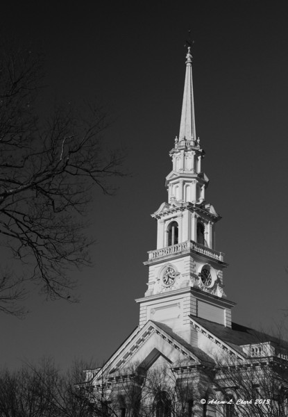 12.22.2013<br /> <br /> The iconic steeple of the United Church of Christ on the common in downtown Keene, NH
