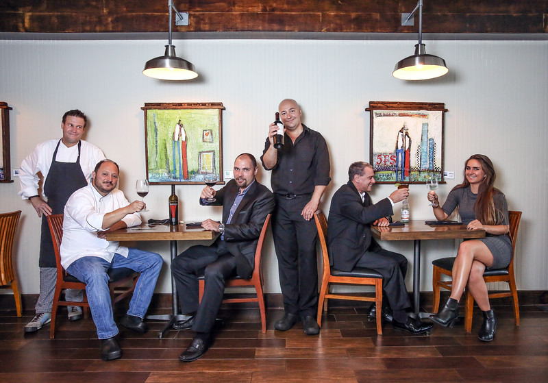 Photo by CandaceWest.com,<br /> Fries To Caviar staff from left to right are:<br /> Chad Ford, Jimmy Mills, Richard Mitchell,Lorezo Cardei, Chris Farren, and Victoria Johnson. <br /> Fries To Caviar<br /> 6299 N Federal Hwy., <br /> Boca Raton,