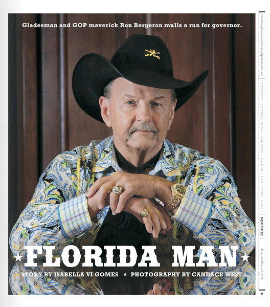 """Alligator Ron"" Bergeron, a fifth generation Floridian has spent a lifetime advocating for the Everglades, now he mulls a run for governor. <br /> Photo by CandaceWest.com"