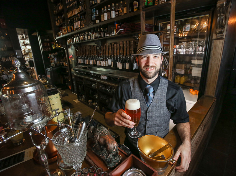 Photo by CandaceWest.com,<br /> March 4, 2016<br /> Bar Chef Kyle Nash. <br /> Apothecary 330,<br /> 330 SW 2nd St.<br /> Fort Lauderdale, Florida 33312<br /> (954) 616-8028,<br /> JEY Hospitality Group is launching its new<br />  2-for-1 block-wide Happy Hour available at its five restaurant locations on Fort Lauderdale's Himmarshee Street. Kicking off on Thursday, March 3rd, the new 2-for-1 specials will make Downtown Fort Lauderdale the ultimate Happy Hour destination. Guests will receive a one-and-a-half inch wooden chip upon purchase of their first drink and can use the chip to redeem their second drink at Himmarshee Public House, ROK:BRGR, TacoCraft, Pizza Craft or Apothecary 330.