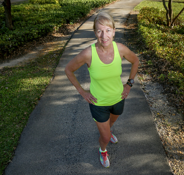 (MG)  -   Senior Athletes -Ann Harsh, race-walk competition and at 66 the Ft Lauderdale resident holds records. Reporter Eric Barton.<br />  Photo / Candace West, for the South Florida Sun Sentinel.