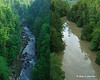 What Quechee Gorge above the bridge normally looks like (left) and what it looked like a day after the storm (right)