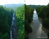 What Quechee Gorge below the bridge normally looks like (left) and what it looked like a day after the storm (right)