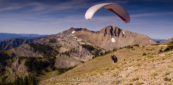 Top of Jackson Hole Wyoming. Paragliding on a late summer morning.
