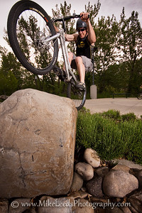 Carl Marcum riding his bike in Boise Idaho on May evening.
