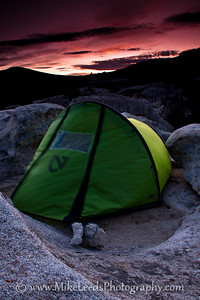 Stormy night approaching the City of Rocks in Idaho.  Nemo Tent. Morpho AR.