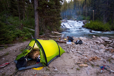 "Camp at the base of ""Fern Falls"" on the Upper South Fork Payette River. Sawtooth Mountains, Idaho."
