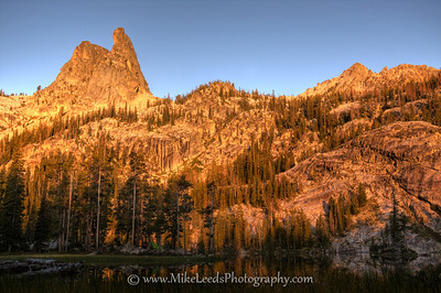 Finger of Fate and our camp in the Sawtooth Mountains, Idaho. HDR