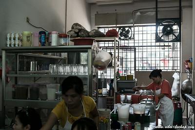 auntie making our milo pengs / kopi pengs etc