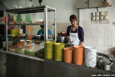 Auntie preparing the food