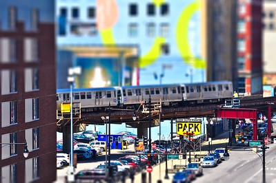 Chicago El and a Parking Lot