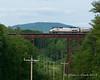 06.10.2015<br /> Northbound Amtrak Vermonter crosses the steal bridge in Claremont, NH
