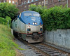 07.23.2014<br /> Amtrak's northbound Vermonter comes out of the small tunnel in Bellows Falls, VT just before the station
