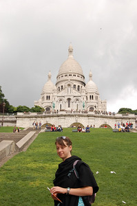 Claire and the Sacre-Coeur  Just a bit further up the stairs. I think I need a bit more practice with the aperture settings :-)