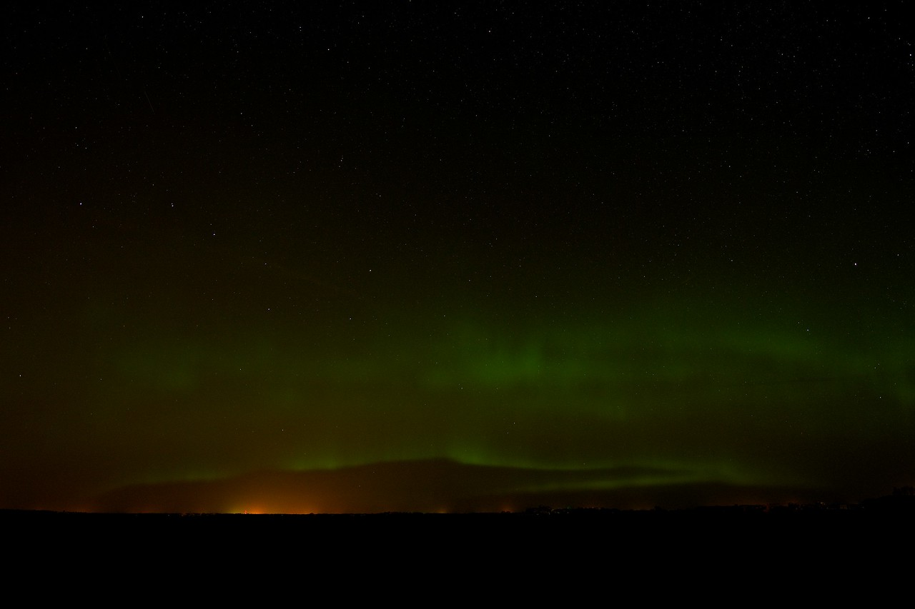 Star filled night with a hint of Aurora