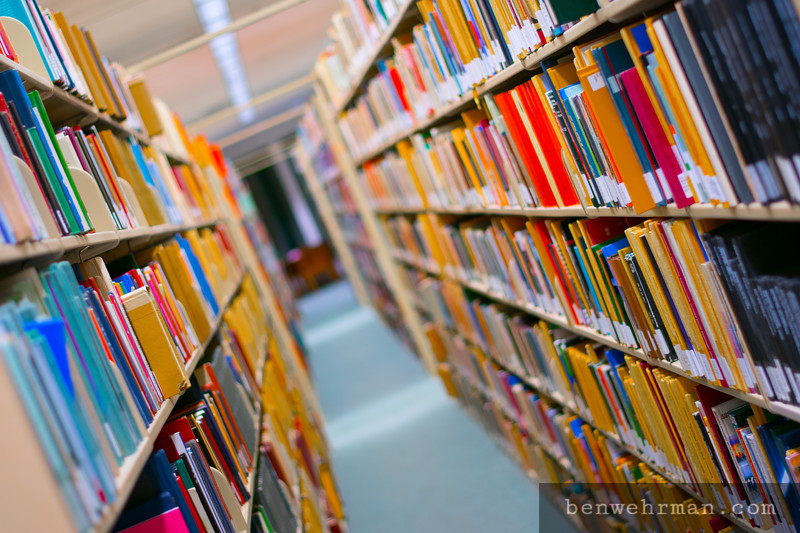Bookshelf in a library