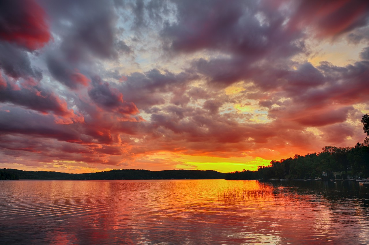 Sunset over Lac lu, Ontario
