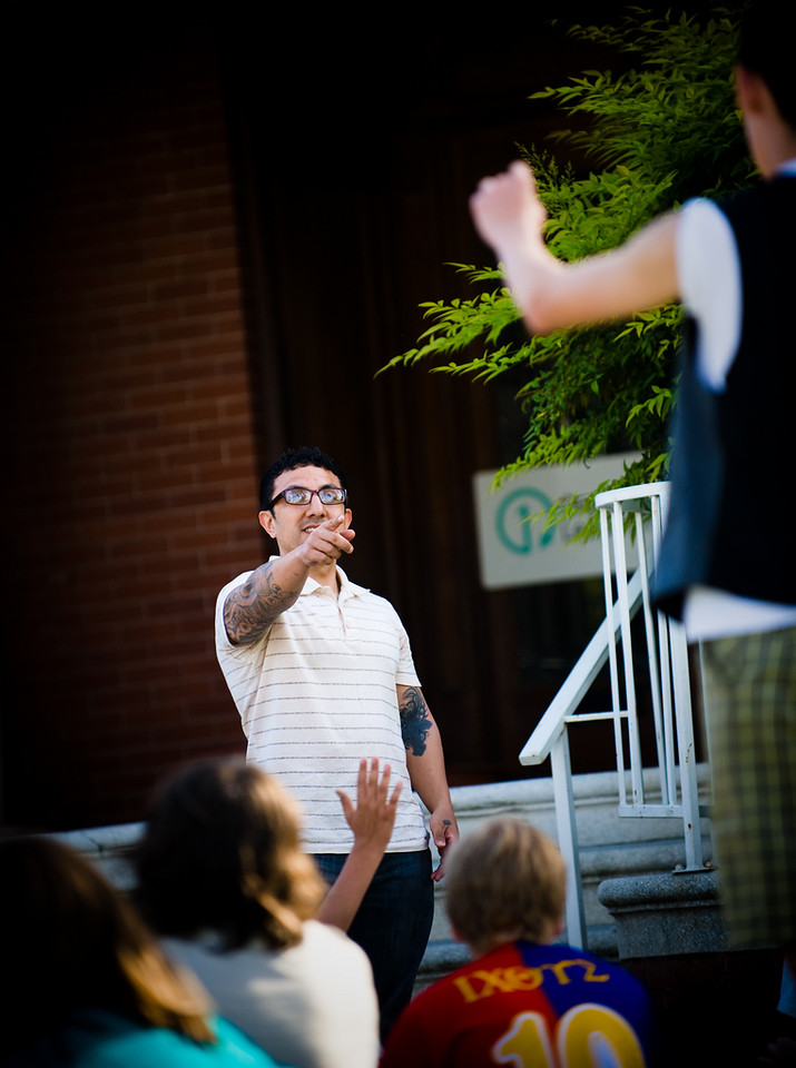 Ivan Paz talk to junior high students from The Bridge church in Fresno during orientation for the Fresno Urban Mission Project.  photo by Andrew Shinn