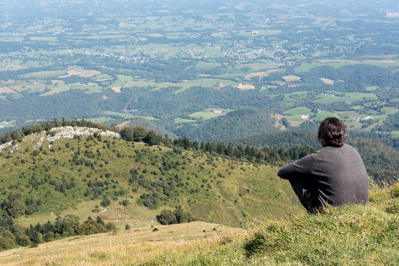 Au premier plan la lisière du bois d'Arudy, dans la vallée les villages de Buzy et Buziet