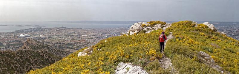 Sur la crête entre Vallon de l'Evêque et Grand Vallon de St Cyr