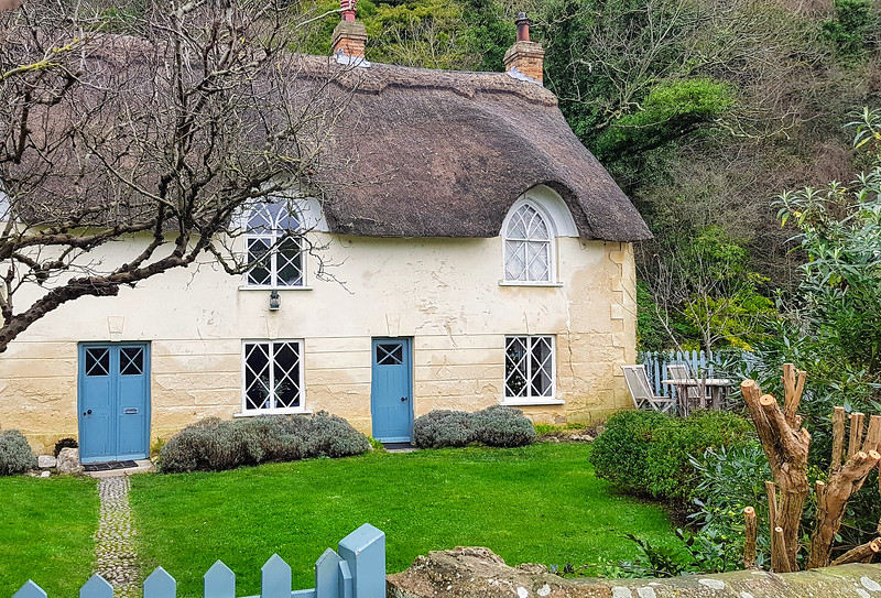 One of the charming thatched cottages in the village.