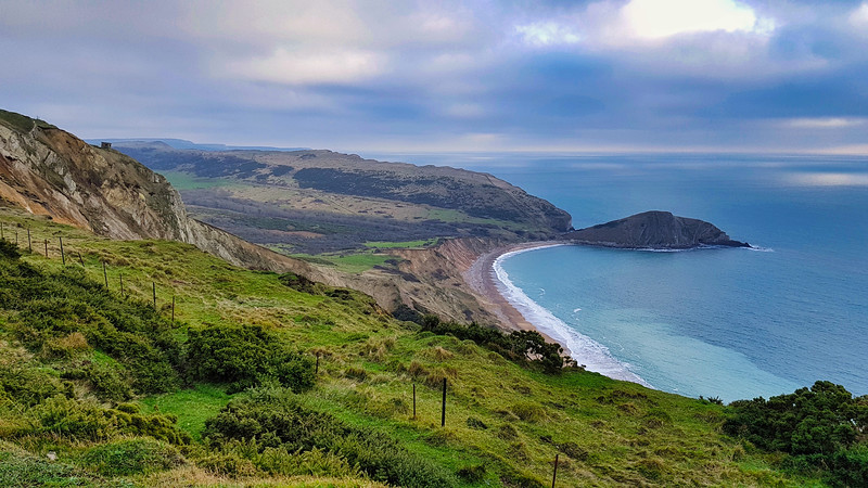 Looking back from Flowers Barrow towards Worbarrow Bay.
