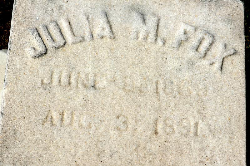 Alanson's daughter Julia M. Fox died at age 23