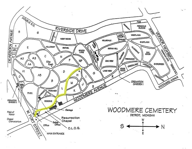 Map to Alanson's grave at Woodmere on Detroit's SW side