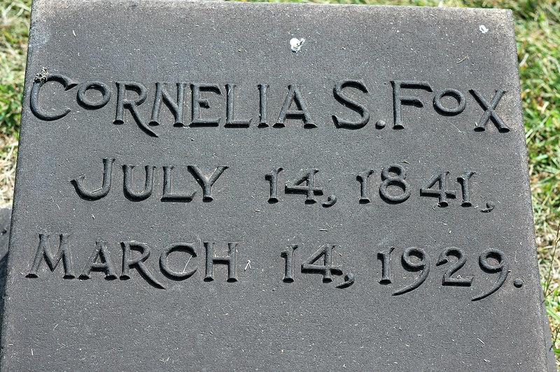 Headstone of Alanson's second wife Cornelia Stebbins Fox, died age 88