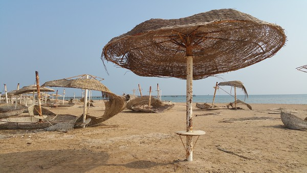 So here I am among the decaying sun parasols...weird.