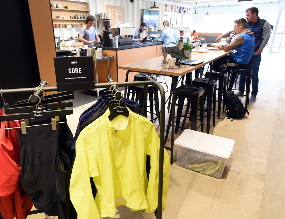 . You can buy cycling clothing while having coffee at Rapha Cafe and bike store at 1815 Pearl Street. For more photos, go to www.dailycamera.com.  Cliff Grassmick  Staff Photographer April 21, 2017