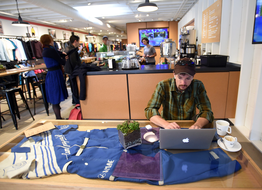 . Jacob Dana has coffee and works on a project at Rapha Cafe and bike store at 1815 Pearl Street. For more photos, go to www.dailycamera.com.  Cliff Grassmick  Staff Photographer April 21, 2017