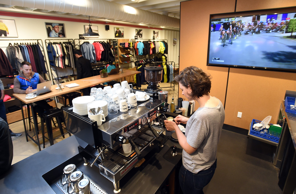 . Laura Jones makes coffee drinks for customers at Rapha Cafe and bike store at 1815 Pearl Street. For more photos, go to www.dailycamera.com.  Cliff Grassmick  Staff Photographer April 21, 2017