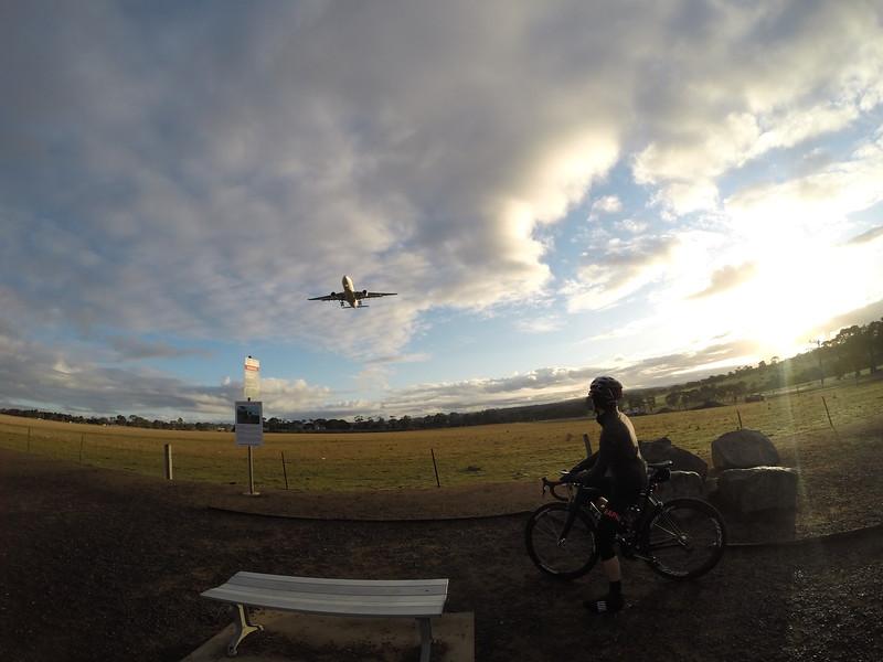 Watching plane landing