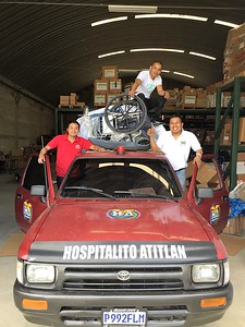 I had told them they couldn't get all they selected on the truck - They are grinning because they proved me wrong.  All three of these men are bilingual, at least one is trilingual.  They were pleased with the medicines, supplies and the wheelchairs.