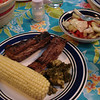 Wed. June 23 - (leftover) Ribs, boiled corn, broccoli and salad.
