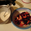 Wed. June 23 - Dessert time. Daddy's making fresh fruit crepes!!