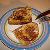 French Toast, and Vermont Maple Syrup, using slices of Raquel's home made bread. Feb. 2010.