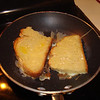 Making French Toast using slices of Raquel's home made bread. Feb. 2010.