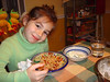 Thurs. Feb. 4 --  Spaghetti with meat sauce and Cucumber and yoghurt salad. (Daddy made this meal)